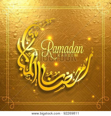 Golden Arabic Islamic calligraphy of text Ramadan Kareem in crescent moon shape, Beautiful glowing greeting or invitation card design for Muslim community festival celebration.