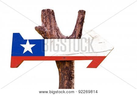 Chile Flag wooden sign isolated on white background