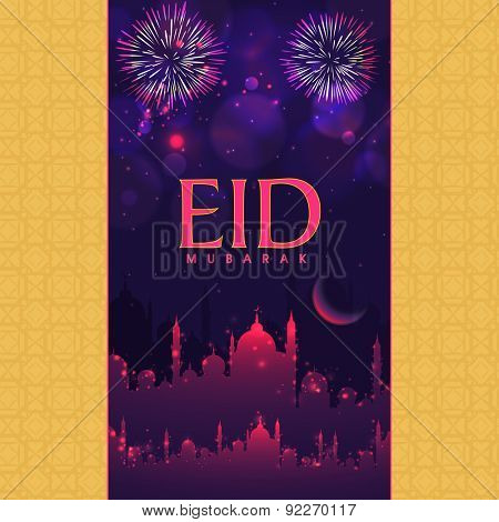 Beautiful greeting card with shiny mosque and crescent moon on fireworks decorated night background.
