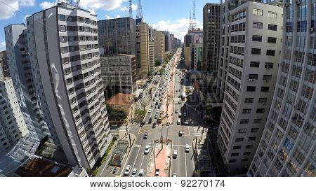 Aerial View of the famous Avenida Paulista (Paulista Avenue) in Sao Paulo, Brazil