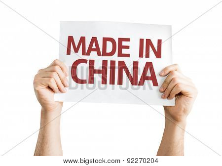 Made In China card isolated on white