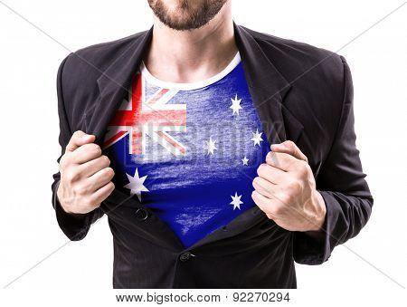 Businessman stretching suit with Australia Flag on white background