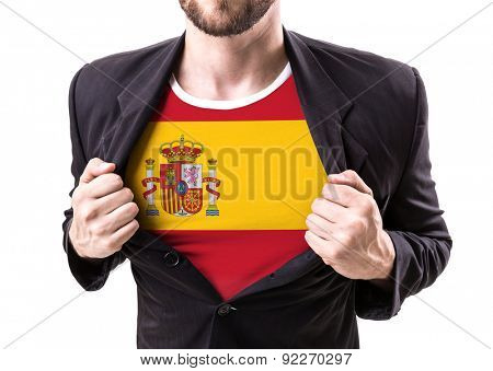 Businessman stretching suit with Spain flag on white background