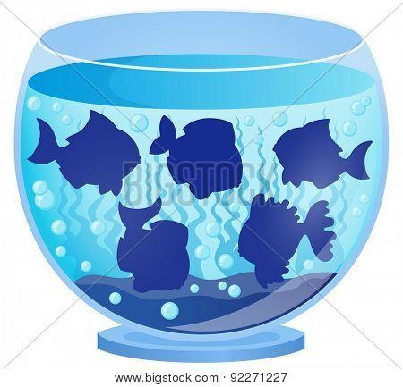Aquarium with fish silhouettes 3 - eps10 vector illustration.
