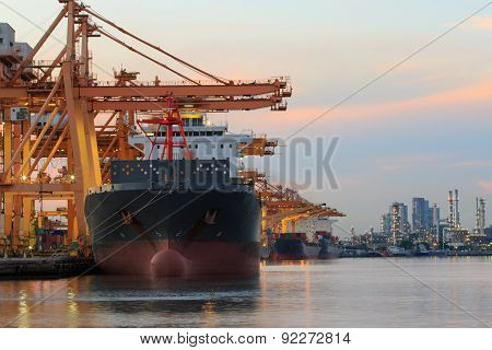 Commercial Ship Loading Container Goods In Ship Yard Use For Transport And Logistic Cargo Freight Bu