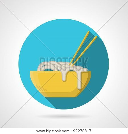 Noodles dish flat round vector icon