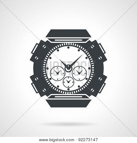 Sports wrist watch black vector icon
