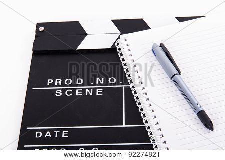 Cinema Clapper Board And Notebook