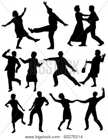 Set of illustrated silhouettes of elderly couples dancing together