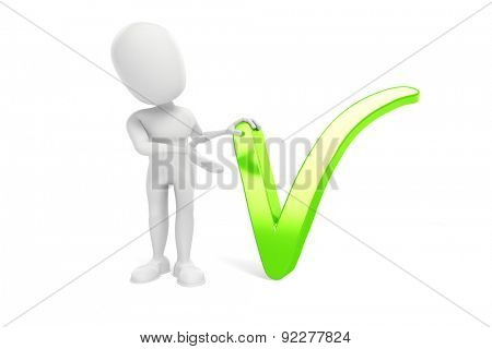 3d man and green check element on white background