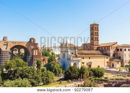 Roman Forum, Basilica Of Maxentius And Plaza Santa Francesca Romana, Rome, Italy