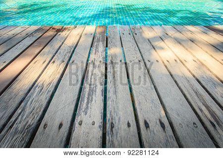 Old Wooden Decking Floor Beside The Pool