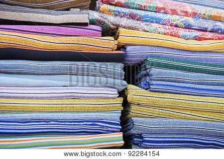 Traditional colourful sarong in the shop. for a background.