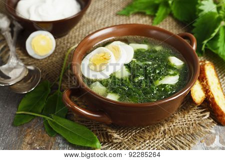 Soup Of Sorrel And Nettles With Eggs