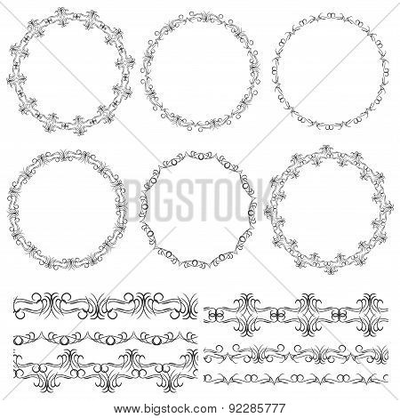 Vintage floral elements, black on white background. template for your design. Used pattern brushes i