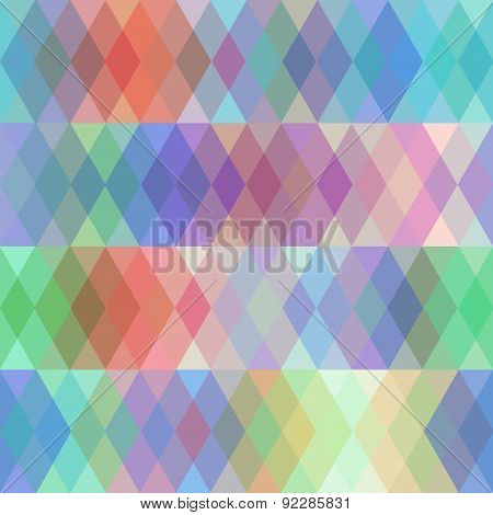 Abstract seamless pattern with colored rhombus, spectrum effect. Vector