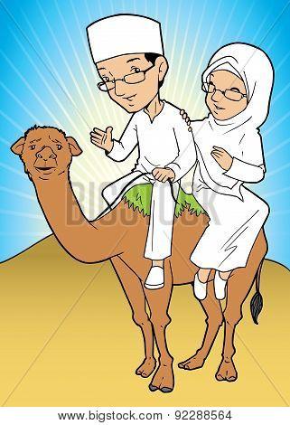 Asian Muslim couple pilgrim riding a camel