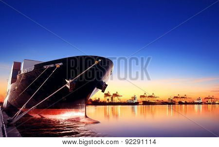 Container Ship In Import,export Port Against Beautiful Morning Light Of Loading Ship Yard Use For Fr