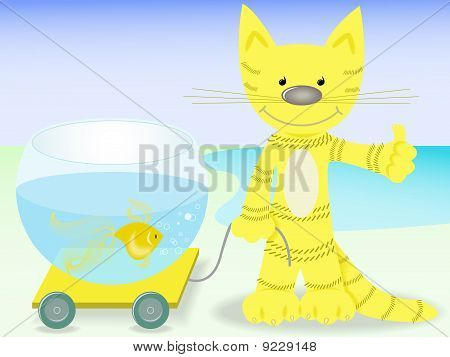 Cat With A Goldfish