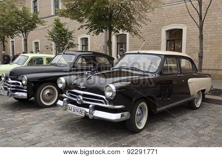 In The Foreground Of The Soviet Car Volga Gaz-21, The First Industrial Series 1957-1958