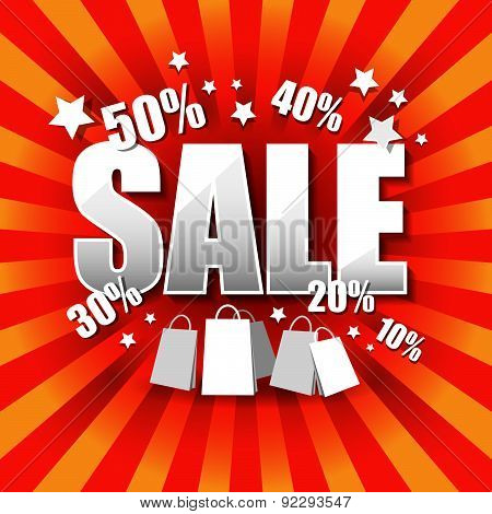 Sale Poster With Percent Discount.