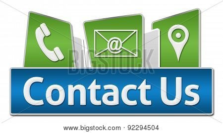 Contact Us Blue Green Rounded Squares