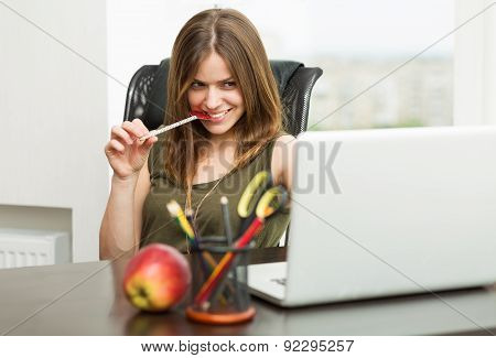 Beautiful Woman Flirting Over The Internet
