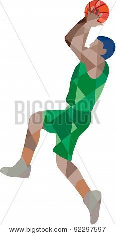 Basketball Player Jump Shot Ball Low Polygon