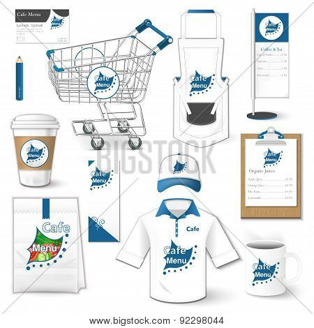 Set of corporate identity, cart, uniform, flyer, shirt, package