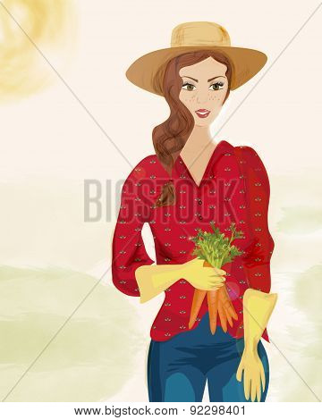 Farmer Woman with Hat