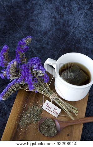 Tea Cup On Wooden Board