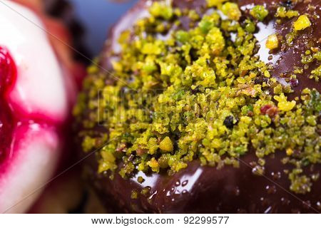 Detail Of Chocolate Cake With Pistachio Particles