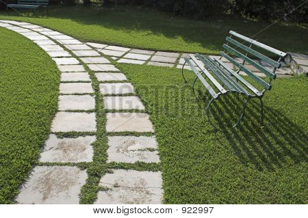 Lawn Chairs On Green Grass
