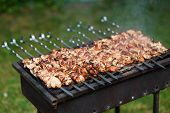 foto of barbecue grill  - Grilling shashlik on barbecue grill with delicious meat - JPG