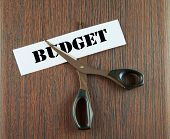image of budget  - Scissors cutting the word Budget written on a paper strip over wooden background - JPG