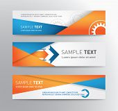 pic of gear  - abstract header vector set with gear and arrow - JPG
