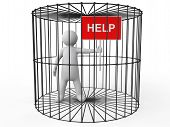 stock photo of caged  - 3d render of a man in cage asking for help - JPG