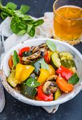 foto of stew  - vegetable stew with fresh vegetables ratatouille - JPG