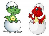pic of dinosaur-eggs  - Cute little baby cartoon dinosaurs characters - JPG