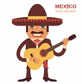 image of mexican  - Mexican man playing guitar and singing - JPG