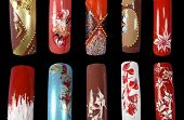 pic of nail-art  - ten nails isolated on black close up - JPG