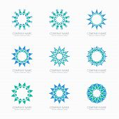 picture of symmetrical  - Simple blue geometric abstract symmetric shapes set - JPG