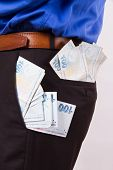 image of turkish lira  - Consumer concept one hundred Turkish lira banknotes in the pocket of businessman - JPG