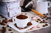 foto of coffee grounds  - Ground coffee rests in a ceramic Cup - JPG