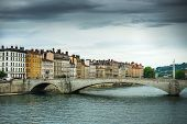 foto of bonaparte  - view from river Sona to the Bonaparte bridge and Lyon city - JPG