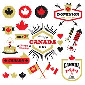 picture of canada maple leaf  - Happy Canada Day design elements set on white background - JPG