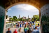 pic of tilt  - Ayasofya mosque with tourists in Istanbul - JPG