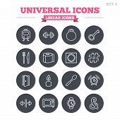 stock photo of universal sign  - Universal linear icons set - JPG