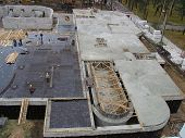 stock photo of foundation  - Foundation work at the construction site of the building - JPG