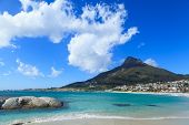 picture of mountain chain  - Beautiful Camps Bay Beach and Lion Head Mountain Chain Cape Town South Africa - JPG